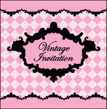 Black and pink vintage template.Vector illustration Stock Photography