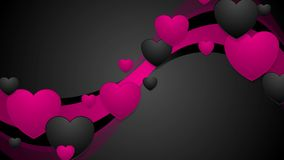 Black and pink wavy video animation with hearts. Black and pink wavy motion background with hearts. Video animation Valentine Day Ultra HD 4K 3840x2160 stock video