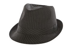 Black pinstripe fedora hat. Isolated on white background Royalty Free Stock Photos