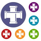 Black pipe fitting icons set Stock Photo