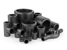 Black pipe fittings set on a white background. Stock Photography