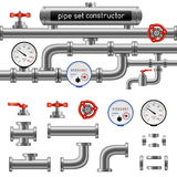 Black pipe set constructor stock illustration