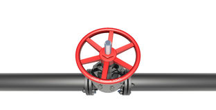 Black pipe with valve Royalty Free Stock Images