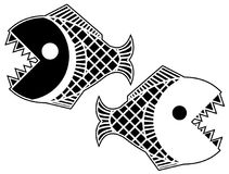 Black Piranha Fish Stencil Royalty Free Stock Photography