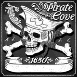Black Pirate Cove Flag - Jolly Roger. Vintage Blackboard Tatoo stock illustration