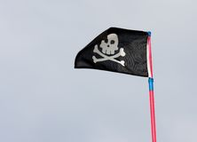 Black pirate flag Royalty Free Stock Photo