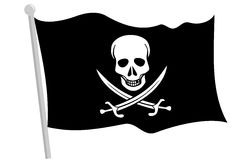Black pirate flag Stock Photo
