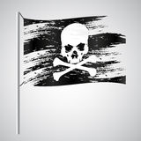 Black pirate flag grunge style with skull eps10 Royalty Free Stock Image