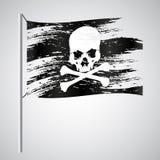 Black pirate flag grunge style with skull eps10. Black pirate flag grunge style with skull Royalty Free Stock Image
