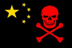 Pirate flag combined with Chinese flag. Black pirate flag with the image of Jolly Roger with crossbones combined with colors of the Chinese flag Stock Photo