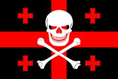 Pirate flag combined with Georgian flag. Black pirate flag with the image of Jolly Roger with crossbones combined with colors of the Georgian flag Royalty Free Stock Images