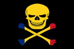 Pirate flag combined with Romanian flag. Black pirate flag with the image of Jolly Roger with crossbones combined with colors of the Romanian flag Royalty Free Stock Photography