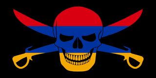 Pirate flag combined with Armenian flag. Black pirate flag with the image of Jolly Roger with cutlasses combined with colors of the Armenian flag Stock Photography