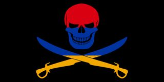 Pirate flag combined with Armenian flag. Black pirate flag with the image of Jolly Roger with cutlasses combined with colors of the Armenian flag Stock Photos