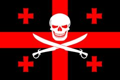 Pirate flag combined with Georgian flag. Black pirate flag with the image of Jolly Roger with cutlasses combined with colors of the Georgian flag Royalty Free Stock Photography