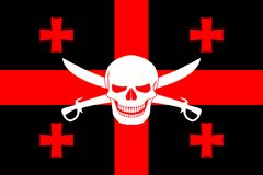 Pirate flag combined with Georgian flag. Black pirate flag with the image of Jolly Roger with cutlasses combined with colors of the Georgian flag Royalty Free Stock Images