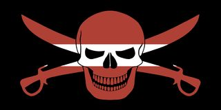 Pirate flag combined with Latvian flag. Black pirate flag with the image of Jolly Roger with cutlasses combined with colors of the Latvian flag Royalty Free Stock Image