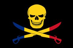 Pirate flag combined with Romanian flag. Black pirate flag with the image of Jolly Roger with cutlasses combined with colors of the Romanian flag Stock Photography