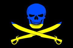 Pirate flag combined with Ukrainian flag Stock Images