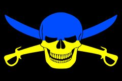 Pirate flag combined with Ukrainian flag Stock Photography