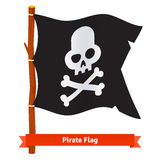 Black pirate flag with scull and crossed bones Royalty Free Stock Photos