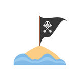 Black pirate flag with skull bone sand sea Stock Image