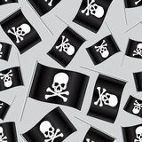 Black pirate flag with skull and bones pattern Stock Photos