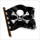 Black pirate flag with skull and bones Royalty Free Stock Photography