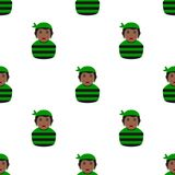 Black Pirate Girl Avatar Seamless Pattern Stock Photo