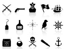 Black pirate icons set Royalty Free Stock Photo
