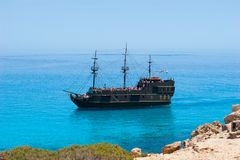 Pirate ship on the sea Stock Photography
