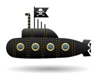 Black pirate submarine. Jolly Roger flag. White background. Cartoon style.  object. Vector Image. Royalty Free Stock Images