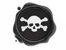 black piratkopierar white för skallesymbolwax Arkivfoton