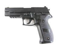 Black pistol. Closeup image of black pistol on white background royalty free stock images