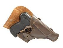 Black pistol in holster. Stock Photos