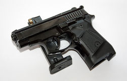 Black pistol and magazine royalty free stock photo