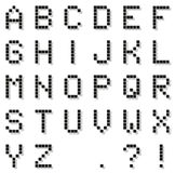 Black pixel alphabet (with punctuation) with pixel shado Royalty Free Stock Images