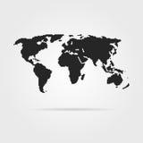 Black pixel art world map with shadow. Concept of 8bit videogame, graphic wallpaper, school education, locations. pixelart style trendy modern design vector vector illustration