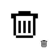 Black pixelart trash can Royalty Free Stock Image