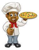 Black Pizza Chef Cartoon Character Stock Photo