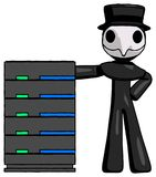 Black Plague Doctor Man With Server Rack Leaning Confidently Aga. Inst it - Toon Rendered 3d Illustration Royalty Free Stock Image