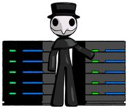 Black Plague Doctor Man With Server Racks, In Front Of Two Netwo. Rked systems - Toon Rendered 3d Illustration Royalty Free Stock Photo