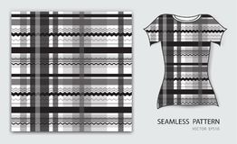 Black plaid tartan seamless pattern vector illustration, t shirt design, fabric texture, patterned clothing. Abstract background vector illustration