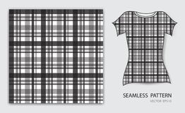 Black plaid tartan seamless pattern vector illustration, t shirt design, fabric texture, patterned clothing. Abstract background Royalty Free Stock Images