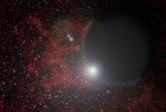 Black Planet Over Nebula. And star-field wallpaper Stock Photos