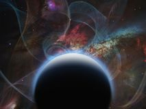 Black Planet. Planet with nebulos filaments. Some elements image credit NASA Stock Image