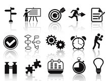 Black planning icons set. Black planning icons set from white background Royalty Free Stock Photography