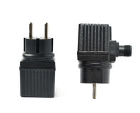 Black plastic adapter isolated Royalty Free Stock Image