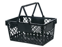 Black plastic basket side view handles up Stock Photography