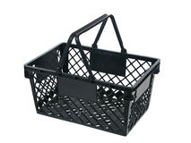 Black plastic basket top view handles up Stock Photography